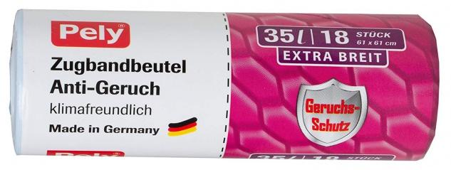 pely Zugbandbeutel Anti-Geruch, klimafreundlich, 35 Liter, extra breit, 48 x 75 cm, 18 Stück