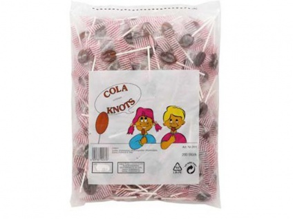 Cola Knots kleine Cola Flachlutscher 200 Stück 1100g 4er Pack