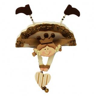 Kantenaufsteller Figur Engel Holz mit beweglichen Armen Glöckchen