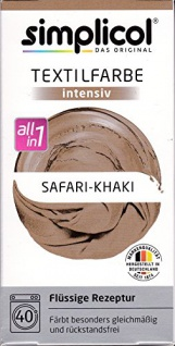 "Simplicol Textilfarbe intensiv all in 1 -Flüssige Rezeptur "" Safari-Khaki"" Neu!"