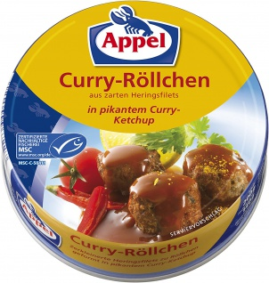 Appel Curry Röllchen Heringsfilets in pikantem Curry Ketchup 200g