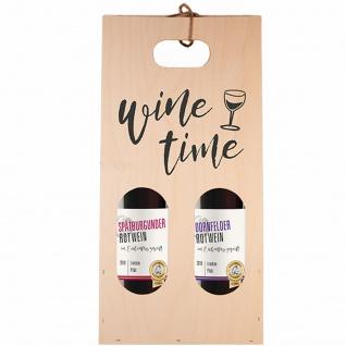 Moselland 2er Holztragetasche Wine Time mit Rotwein 2 x 750ml