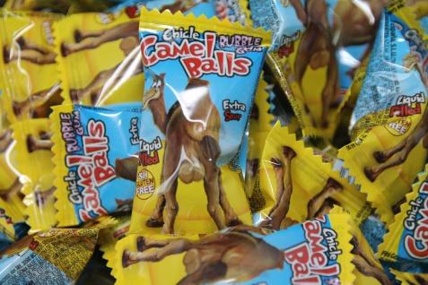 Bubble Gum Boom Camel Balls mit flüssiger Kirschfüllung einzeln 5g