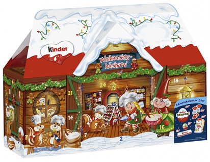 Ferrero Kinder Adventskalender 3D Haus mit 24 kinder Produkten 234g