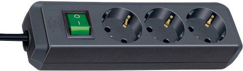 Brennenstuhl Eco-Line Steckdosenleiste 3-fach schwarz mit Schalter, 1152300015