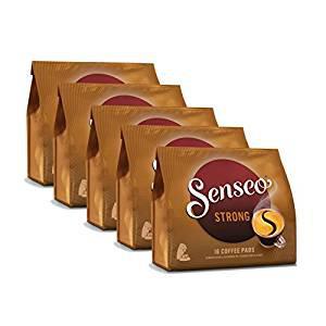 Senseo Kaffeepads Kräftig / Strong, Intensiver und Vollmundiger Geschmack, Kaffee, neues Design, 5er Pack, 5 x 16 Pads