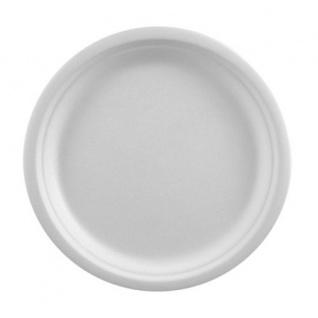 """Papstar 81327 50 Teller, Zuckerrohr """" pure"""" ungeteilt, Durchmesser 23 cm, 2 cm, weiß"""