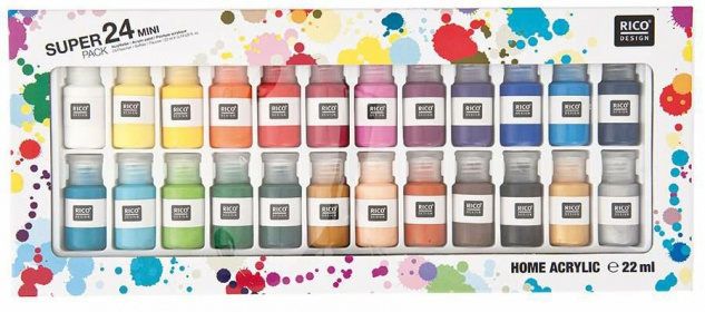 Rico Design Mini Home Acrylfarben 24 Fabenfläschen zu je 22ml