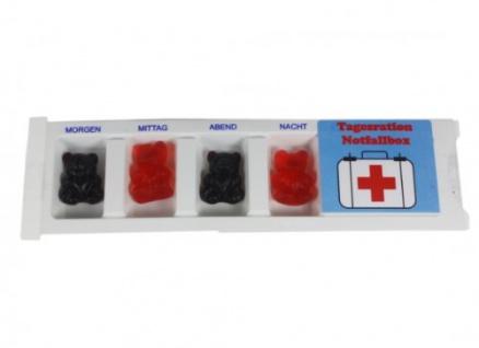Tablettenbox Notfall gefüllt mit Fruchtgummi Scherzartikel 25gramm