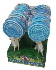 Spiral Lolly Boy blau weiß extra großer Lutscher mit Ananasgeschmack Display