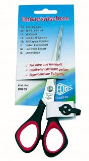 WEDO Universalschere Linkshänder aus Edelstahl Schwarz Rot 16cm