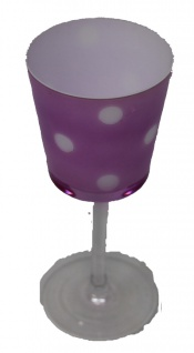 Teelichthalter hat die Form von einem Kelch lila mit Punkten - Vorschau