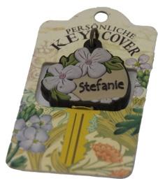 Schlüsselkappe Schlüsselköpfe mit zwei Blumen verziert Name Stefanie