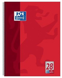 OXFORD Collegeblock Schule A4 kariert mit Doppelrand 80 Blatt gelocht rot