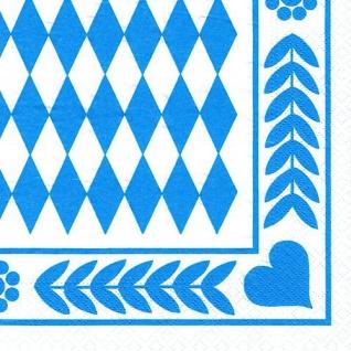 "250 Servietten, 3-lagig 1/4-Falz 33 cm x 33 cm "" Bayrisch Blau"" Oktoberfest"