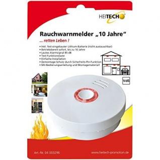 """Heitech 04003296 Rauchwarnmelder """" 10 Jahre"""" weiß"""