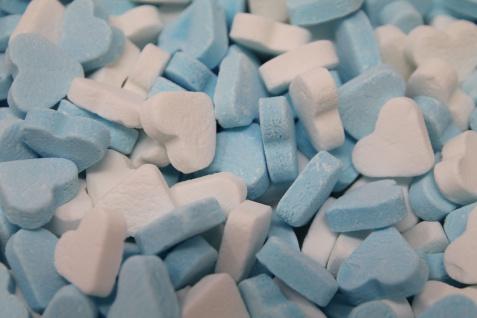 Blau Weisse Pfefferminz Herzen Pfefferminzbonbons in Herzform 1000g
