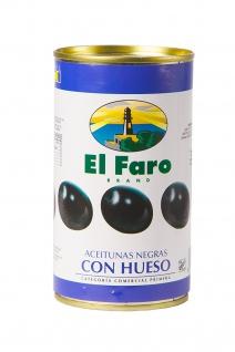 El Faro schwarze Oliven mit Kern Aceitubnas Negras con Hueso 190g