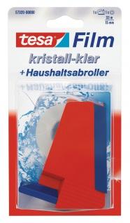 Tesa Haushaltsabroller kristall klar universeller Klebefilm 15mm x 33m
