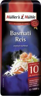 Müllers Mühle Basmati Reis duftende schlanke Reiskörner 1000g