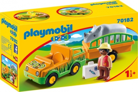 Playmobil 1 2 3 Zoofahrzeug mit Nashorn Konstruktionsspiel 70182