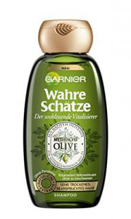 GARNIER Wahre Schätze Shampoo / Intensive Haarpflege bis in die Spitzen / Wohltuend und Vitalisierend (aus nativem Olivenöl - für sehr trockenes, beanspruchtes Haar - ohne Parabene) 1 x 250ml