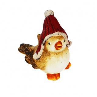 Vogel Wintervogel mit Weihnachtszipfelmütze Weinachtesdekoration