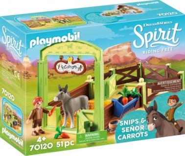 Playmobil Spirit Riding Free Pferdebox Snips und Herr Karotte 70120