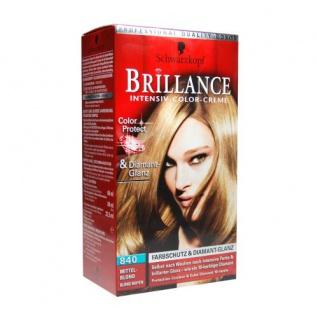 Schwarzkopf Brillance -Intensiv-Color-Creme Mittel-Blond (840) Blond-Ton/ brillanter Glanz/ Perfekte Grauhaarabdeckung/ Coloration/ Haarfarbe