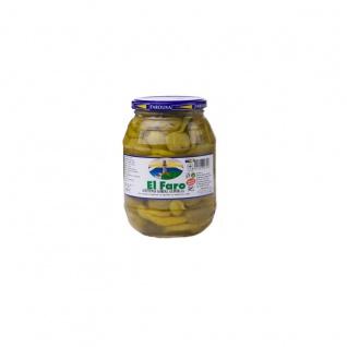 El Faro Eingemachte grüne Dicke Oliven mit ganzer Peperoni 180g