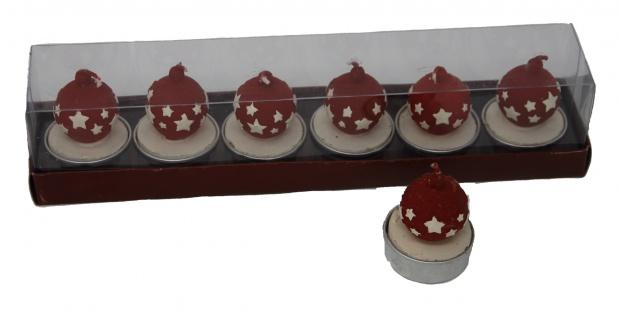 Teelicht mit roter Kugel und weißen Sternen verziert 6er Set