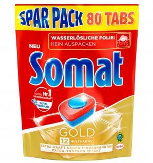 Somat Tabs 12 Gold mit Tiefenreinigung beste Somatreinigung Sparpack 80er 1616g