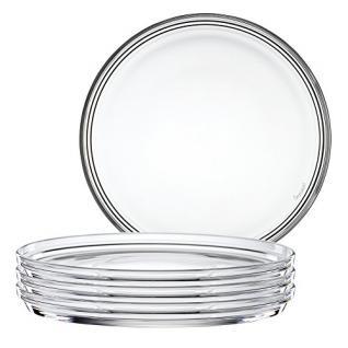 Spiegelau Bistro Teller, 4er Set, Speiseteller, Kristallglas, Ø 22 cm, 2670142
