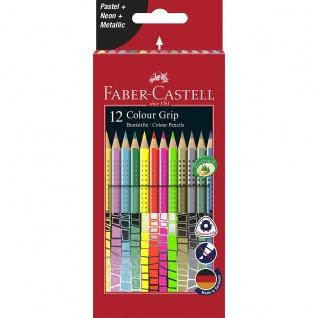 Faber Castell Colour Grip Buntstifte 12er Kartonetui mit Sonderfarben