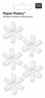 3D-Sticker Weisse Blumen Herzen
