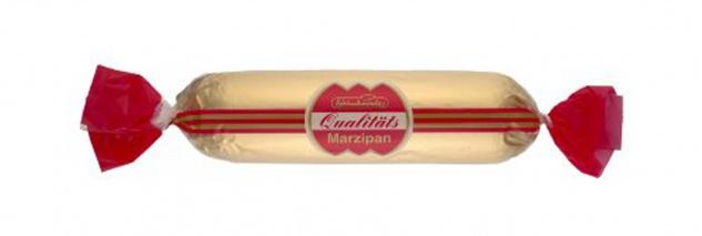 Schluckwerder Marzipan Brot in Zartbitterschokolade rot gold 50g