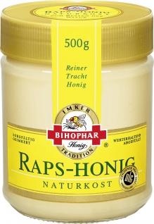 Bihophar Raps Honig Naturkost Reiner Tracht Honig im Glas 500g