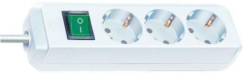 Brennenstuhl Eco-Line, Steckdosenleiste 3-fach (mit Schalter und 1, 5m Kabel - besonders stromsparend) Farbe: weiß