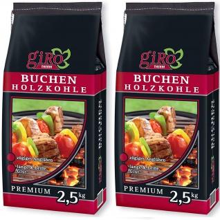 giRo Grillkohle Holzkohle Premium Qualität Buchen Holzkohle 2x 2.5kg