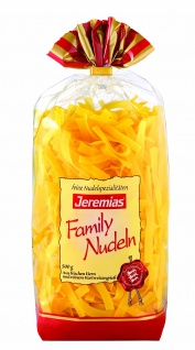 Jeremias Bandnudeln 8 mm, Classic Frischei-Family-Nudeln, 4er Pack (4 x 500 g Beutel)