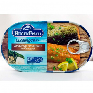 Rügen Fisch Bücklingsfilets in Rapsöl und eigenem Saft geräuchert 190g