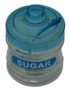 Zuckerdose blau mit Löffel und Deckel aus Kunststoff Höhe 11cm