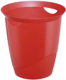 Durable Papierkorb Trend 16 Liter rot transparent