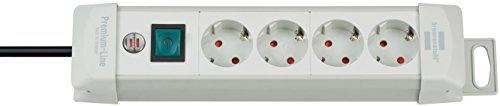 Brennenstuhl Premium-Line Steckdosenleiste 4-fach Farbe lichtgrau