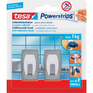 tesa Powerstrips Selbstklebehaken Small Metallhaken Konvex bis 1kg