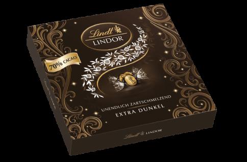 Lindt Lindor Winter Präsent Box extra Edelbitter Schokolade 186g