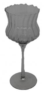 Windlicht Teelichthalter Glas mit Stiel geriffelter Oberfläche 24cm