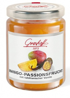 Grashoff Mangokonfitüre Extra mit Passionsfruchtsaft mit echter Tahitivanille (0, 04%), 250 g, 3er Pack (3 x 250 g)