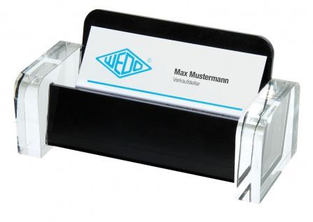 WEDO Acryl Visitenkartenhalter Acryl Exklusiv Glasklar Schwarz