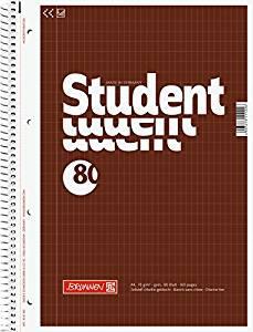 Brunnen 1067943 - Collegeblock Student A4, rautiert 80 Blatt